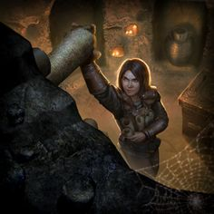 f Rogue Thief Leather Armor Scrolls female Tomb Raider Dungeon Ruins story med Fantasy Character Design, Character Creation, Character Concept, Character Art, Elder Scrolls Races, Elder Scrolls Online, Fantasy Images, Fantasy Art, Studded Leather Armor