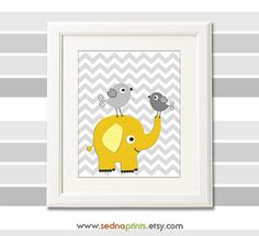 Yellow and grey elephant nursery art print - 8x10 - Children wall art, baby girl, elephant and love birds, grey chevron  -  UNFRAMED on Etsy, $13.50