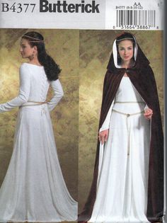 butterick 4377 dress and cape and if you were wondering this is not a kinsale cape it has a hood a very large one so it can be worn turned back to view the lineing but it's def. not a kinsale