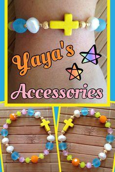 Pulsera con beads y romdells de cristal, cat eye, perlas de agua dulce y cruz