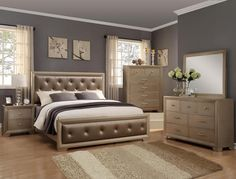 5 pc Fontaine antique silver finish wood tufted bonded leather queen bedroom set