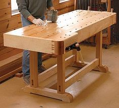 Woodworking Workbench Plans | the essential workbench this classic bench combines the best of the ... #woodworkingbench