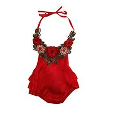 baby rompers | Baby Girl 3D Flower Applique Halter Floral Romper,Backless Bodysuit,Ruffle Sunsuit (0-6 Months, Red)