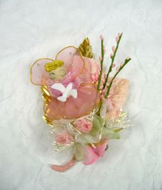 Vintage Angel Pink Christmas Corsage Millinery Flowers Mica Sugar Bells Dove Retro Decoration