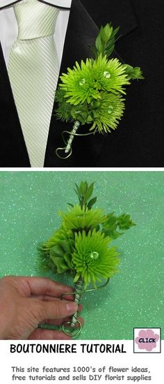 Make a Flower Boutonniere Corsage - Professional Flower Tutorial.  Easy step by step directions for use as either a boutonniere or corsage.