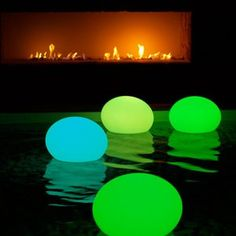 Put a glow stick in a balloon for pool lanterns. Pool party on a Summer night! I think this could work pinned up on the fence of a backyard without a pool, too, so really great idea for any outdoor BBQ/party! - if you live on a lake tie sting to the balloon and attach it to a rock if the water is shallow enough.