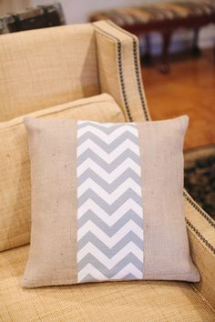 Another one of the pillows.  This one is burlap with a gray chevron pattern.  We got two of these and they are now in our bedroom.