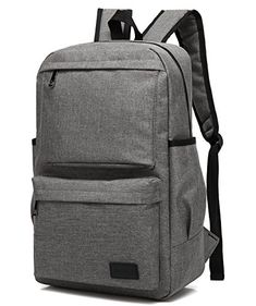 New Mn Sue Lightweight Large Capacity Canvas Backpack Computer Bag Laptop  Sleeve Rucksack Travel College School Outdoor Sports Hiking Camping Weekend  (Gray) ... 0b12b2d9c83ba