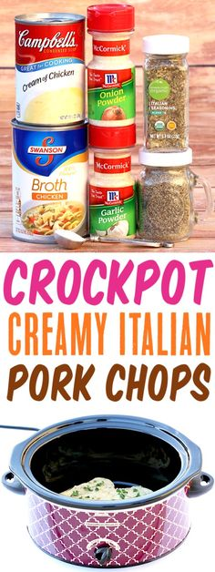 This Creamy Italian Slow Cooker Dinner using c Crockpot Pork Chops Easy Recipe! This Creamy Italian Slow Cooker Dinner using c. This Creamy Italian Slow Cooker Dinner using c. Crockpot Dishes, Crock Pot Slow Cooker, Crock Pot Cooking, Slow Cooker Recipes, Gourmet Recipes, Cooking Recipes, Fast Crockpot Meals, Keto Recipes, Easy Recipes
