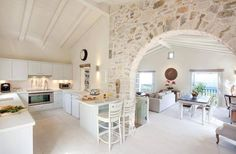 Home Decor Interior Designs Pulte Homes, Küchen Design, Design Case, Style At Home, Villas In Corfu, Greece House, Greek Decor, Mediterranean Homes, Stone Houses