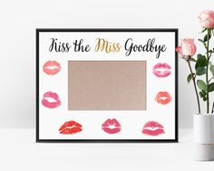Make a memorable night with this fun & flirty way to remember your last night as a single lady! This kiss the miss goodbye instant download is available to print immediately after purchase. 10 x 8. Put a picture of the night in the inside! **No changes can be made to this digital