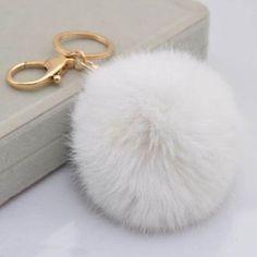 Handbag Charm Key Ring Rabbit Fur Ball PomPom Cell Phone Car Keychain Pendant