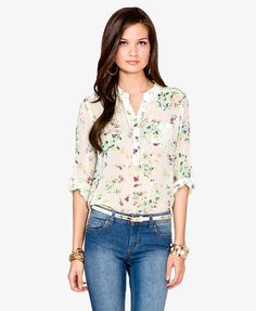 Pintucked Pleated Floral Top | FOREVER21 - 2019775756