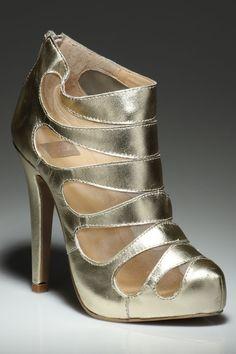 gold cutout booties