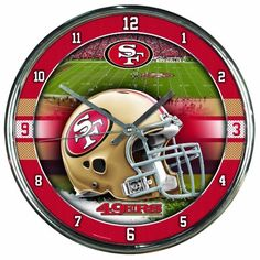 """NFL San Francisco 49Ers Chrome Clock by WinCraft. $19.99. Bold Style Face with Metal Hands. 12"""" Round Wall Clock. Contemporary Style Chrome plated plastic. Glass lens protects the hands. Sporty chrome look is perfect for every man cave. Officially licensed wall clock. Attention grabbing styling for any room. Shiny Chrome plastic construction with glass lens and metal hands. High quality quartz movement with a sweep second hand.   Requires one (AA) battery. Measu..."""