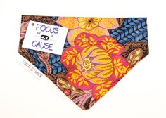 Vintage 1980's Floral Dog Bandana, Slide Over the Collar Dog Bandana, Pet Bandana, by Focus for a Cause by FocusforaCause on Etsy