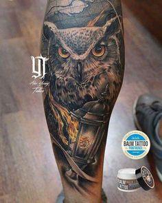 Valencia Tattoo Convention! Realizado con Dragon Blood.  #tattoo #tatuaje #tinta #ink #inked #grises #blackandgrey #color #benidorm #alicante #realistic #realismo #design #diseño #art #arte #artist #artista #youngTattoo #spain #españa #balmtattoo #delabcare #alexyoungtattoo #dark #dragonblood #owl #fire @balm_tattoo @kimeratattoo @thebestspaintattooartists