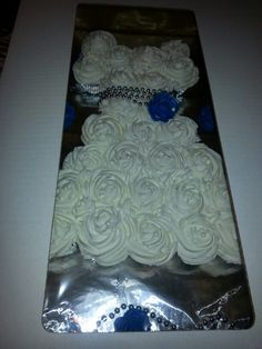 bridal shower cupcake dress with royal blue buttercream rose sprinkled w silver sugar dust