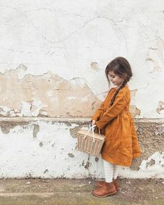 Earth Tone Dress for Family Portraits Peter Pan, Kindergarten Outfit, Girls Spring Dresses, Burnt Orange Dress, Kids Fashion Photography, Family Photography, School Dresses, Button Dress, Wrap