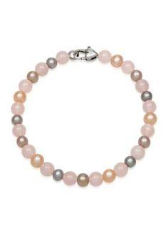 Belk  Co. Multi Freshwater Pearl with Rose Quartz Bead Bracelet