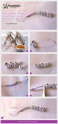How to Make Named Cord Loop Phone Charms with Beebeecraft arcylic Letter Beads White Alphabet Beads Alphabet Beads, Letter Beads, Jewelry Making Tutorials, Beading Tutorials, Mens Sterling Silver Necklace, Beaded Bookmarks, Beads Online, Bracelet Patterns, Couple Gifts