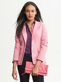 Banana Republic | Pink Hacking Jacket  With cute elbow patches in beige