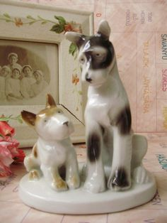 Vintage German porcelain dog with puppy,handpainted,stamped by VintageMarketArt on Etsy