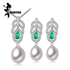 MINTHA Pearl Jewelry Sets,Pearl Pendant Necklace Earrings For Women,Leaves Emerald leaf big earrings set fine jewelry with box //Price: $US $13.02 & FREE Shipping //     #hashtag2