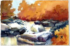 Watercolor and soft pastel. Autumn Lights, Pastel, Paintings, Watercolor, Art, Pen And Wash, Art Background, Cake, Watercolor Painting