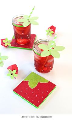 Make Easy Strawberry Coasters & Drink Toppers For Summer Parties! These easy crafts will only take a few minutes and you'll be a rockstar hostess. All the easy details at TheCelebrationShoppe.com | Kim Byers