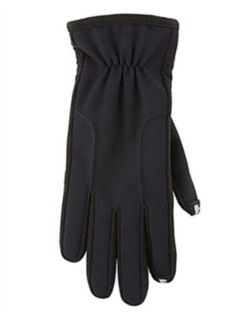 """These great looking black Isotoner """"Smart Touch"""" gloves are compatible with touch screen phones and ipods. If you wear these gloves, you don't have to freeze your hands to answer your phone or text!! Size: Womens Medium/Large Color: Black Brand: Isotoner Smart Touch Ultra Plush Lining Soft, Silky, and Warm Stretch Fit Gathered Wrist"""