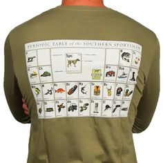 SPC Signature Long Sleeve Periodic Table Tee in Moss Green by Southern Point Co.