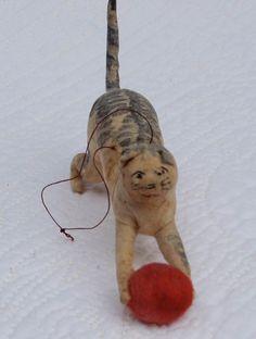 Late 19th C Cotton Batting Cat
