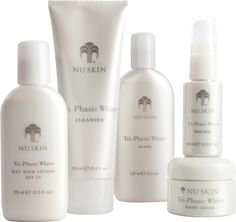 Tri-Phasic White System is a comprehensive skin brightening system containing five products that work together to minimize the activation, synthesis, and expression phases of the skin discolloration process. This benefits your skin by minimizing dark spots, preventing new discoloration, and maintaining a luminous bright complexion. (www.nuskin.com/thesource)