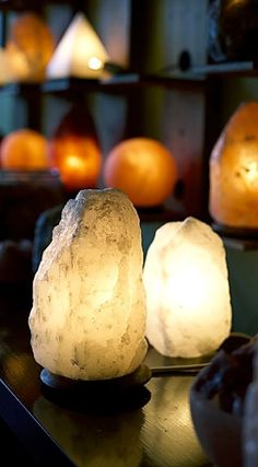 Buy So Well Himalayan Salt Lamps In Amber, White, Grey. Artisan Carved from Pure Himalayan Salt Crystal -Fair Trade and Best Quality Salt Lights & Designs Rock Salt Lamp Benefits, Salt Rock Lamp, White Himalayan Salt Lamp, Himalayan Salt Crystals, Spa Tag, Salt Crystal Lamps, Meditation Rooms, Yoga Meditation, Salt