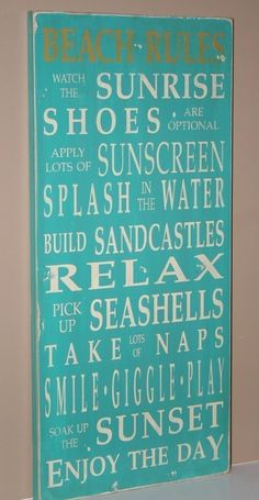 Beach Rules Vintage Style Typography Word Art by barnowlprimitives, $95.00