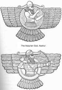 Annunaki warrior in his flying machine.