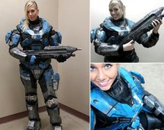 This is a very good halo costume as well she even got her own rifle