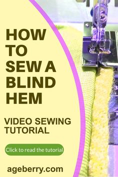 """Learn how to use a blind hem foot for your beginner sewing projects. The invisible blind hem is a great way to finish the hem on any garment. It's also called """"blind hem"""" because you can't see it from the right side of your fabric and it looks like there are no stitches at all! You will need some special presser feet for this sewing technique, but by following these easy steps in our video tutorial, you'll be able to sew perfect hems every time! Sewing For Beginners Diy, Sewing For Dummies, Sewing Basics, Sewing Hacks, Sewing Tutorials, Sewing Tips, Easy Sewing Patterns, Sewing Techniques, Pattern Making"""