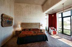 Casa San Miguel de Allende-24-1 Kind Design Rustic Industrial Bedroom, Rustic Bedroom Design, Bedroom Decor, Style Hacienda, Mediterranean Bedroom, Mediterranean Style, Mexico House, Pastel Room, Spanish Style Homes
