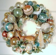 Vintage Christmas Ornament Wreath Blues & Brown Deer