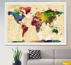 WORLD MAP Large World Map Watercolor World Map by FineArtCenter