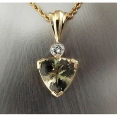 Green Sunstone with diamond in yellow gold. DFJD of Bend, OR. Rare Gemstones, Green Colors, Oregon, Jewelry Design, Quartz, Necklaces, Pendant Necklace, Yellow, Diamond