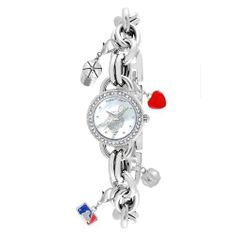 Game Time Women's MLB-CHM-CLE Charm MLB Series Cleveland Indians 3-Hand Analog Watch