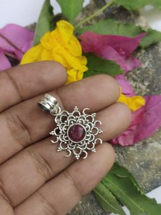 Ruby Gemstone Pendant in Sterling Silver. Ruby Jewelry, Gems Jewelry, How To Make Necklaces, Unique Necklaces, Ruby Pendant, Diamond Pendant, Birthstone Pendant, Opal Necklace, Diamond Heart