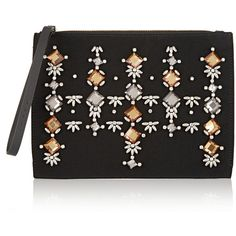 Marni Envelope embellished crepe and leather clutch (35,480 PHP) ❤ liked on Polyvore featuring bags, handbags, clutches, black, cell phone purse, leather envelope clutch, black handbags, floral clutches and envelope clutch