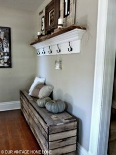 pallet storage bench with rustic hinges