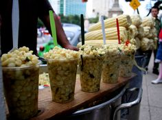 #Esquites, This simple street #food is a cup of hot, fresh corn removed from the cob and seasoned with #spices, mayonnaise, salt and lime juice.