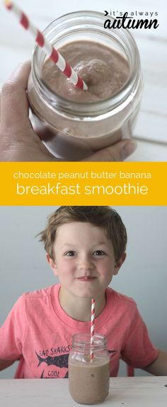 super easy HEALTHY chocolate peanut butter banana breakfast smoothie - perfect quick breakfast for the kids! #PMedia #BreakfastEssentials #sponsored