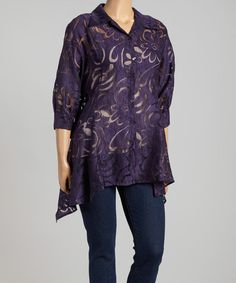 Another great find on #zulily! Plum Sheer Swirl Sidetail Jacket - Plus by Come N See #zulilyfinds